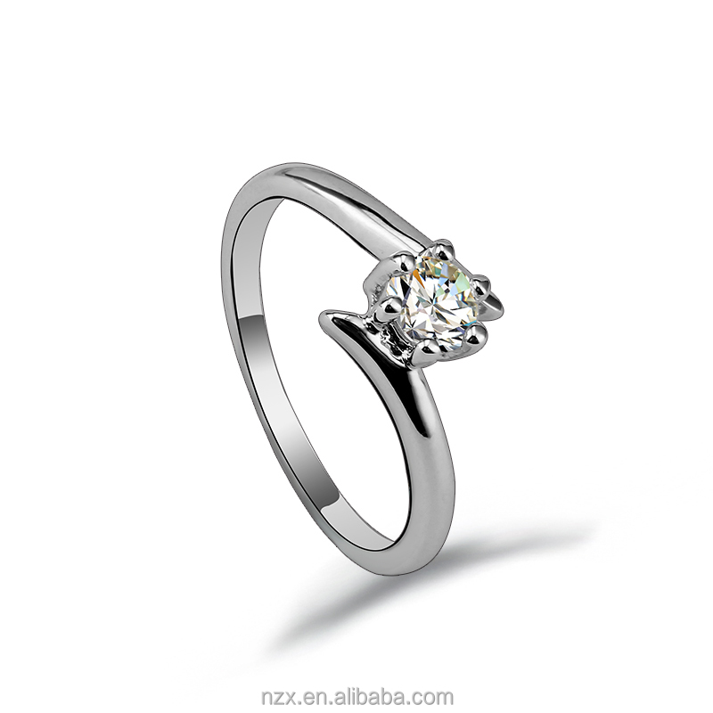 OUXI simple style zircon couple love sample diamond wedding ring 40121