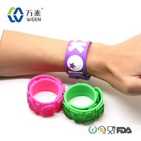 Food grade wholesale silicone slap band watch, custom silicone bracelet, silicone covered steel slap band