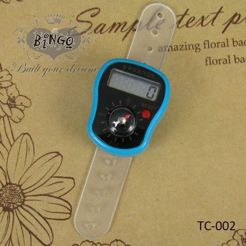 LCD Digtal Ring Finger Tally Counters TASBIH With Compass Blue Plastic