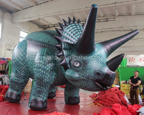 green color giant advertising cartoon inflatable dinosaur inflatable triceratops for sale