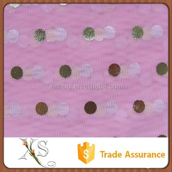 China Supplier Sliver Dots Pink New Gilding Mesh Foil Fabric For Curtain Gauze