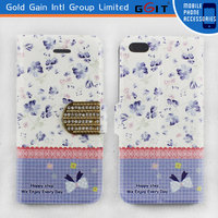 High Quality PU Leather Pastoral Pattern Case for Sony for Xperia Z1 S39H with Diamond