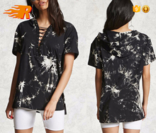 Women's Black Cool Fashion Lace Up V Neck Tie Dye Hooded T Shirt