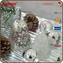 Christmas jingle bell glass bell for Christmas home decoration