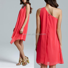 Plain pattern embroidered one shoulder evening dress,coral georgette evening dress fashion