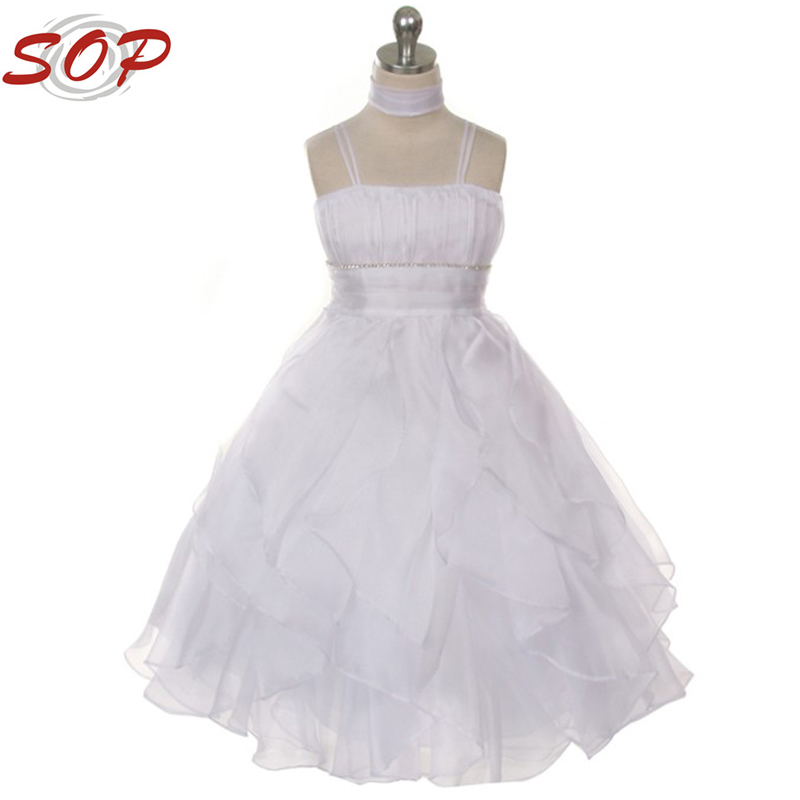 2016 White Lovely Pleated princess design children kids gown picture