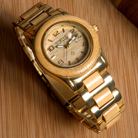 New arrival stainless steel watch and wood watch for men,quartz stainless steel back watch