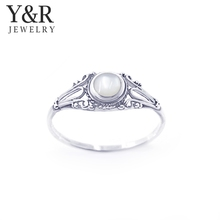 Women Fashion 925 Sterling Silver Antique Stone White Shell Rings
