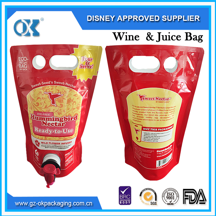 Plastic packaging Stand up bag in box for wine bag in box holder product