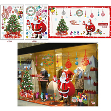 Removable cartoon Christmas tree snowman PVC sticker static cling window decal