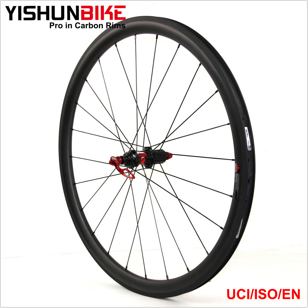2017 YISHUN New 700c road bike 33mm clincher tubeless ready 240s hubs Sapim Spokes bicycle carbon wheelset 240S-330C
