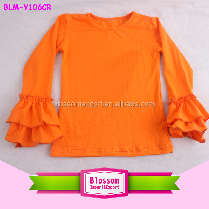 Colorful Baby Boutique Clothing Top Ruffle Blank For Kids Baby Girl Boutique Clothing