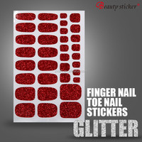 Ruby red glitter nail sticker fashionable toe sticker with long lasting