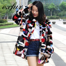CX-G-A-20 Multi Color long Knitted Real Mink Fur Coat
