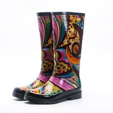 Fashion Women Rain Boots with custom printing rubber rain boots wholesale