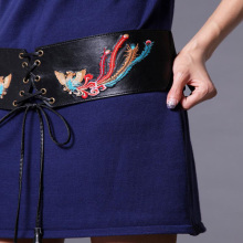 ladies embroidery leather belt