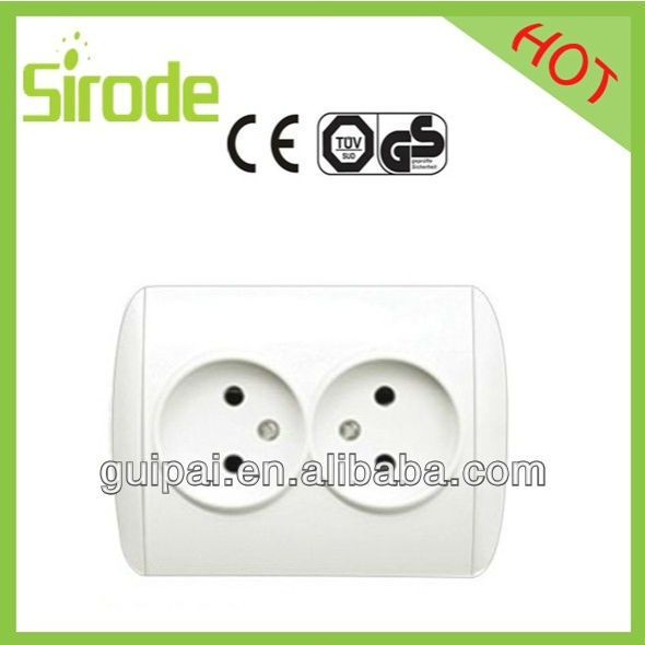 220-250V 16A Color customized 2 G unearthed childproof French socket outlet