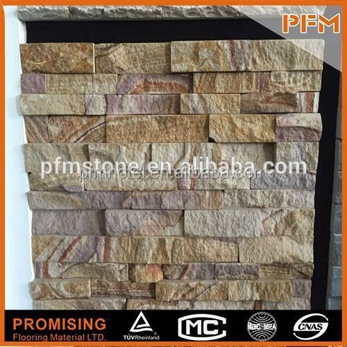Light weight yellow brick slate stone veneer house wall sandstone cladding