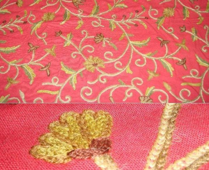 Kashmir's Chain Stitched / Crewel Embroidered Fabrics