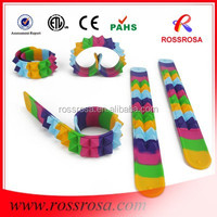 YIWU ROSSROSA customized silicone USB slap bands / USB snap bracelet for promotional gifts