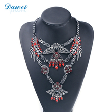 Red Vintage Style Tribal Jewellery Rhinestone Individual Necklace