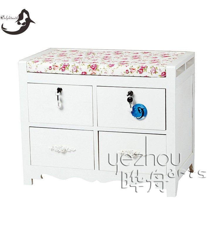 Modern design white solid wood shoe cabinet