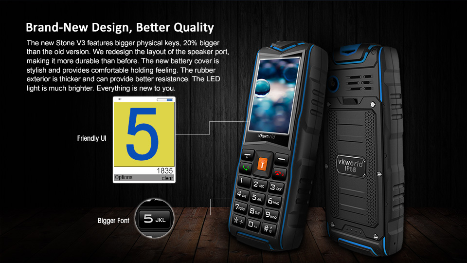 Dropshipping 2G GSM  Keypad phone VKWORLD New Stone V3 IP68 Waterproof 3000mAh Feature Phone