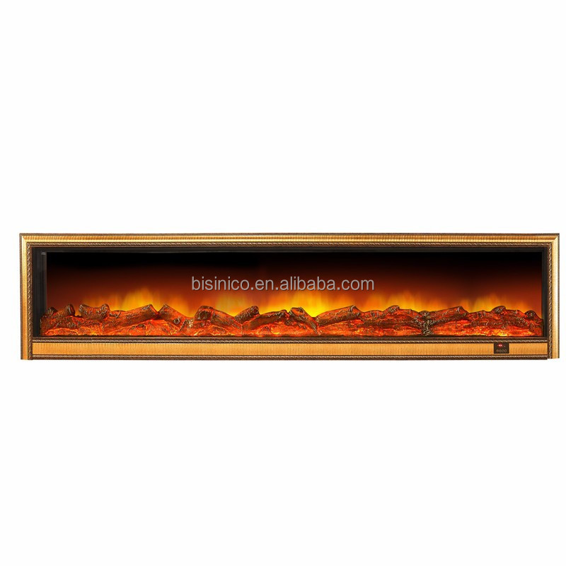 Luxury Bisini Brand Electric Fireplace Heater, Elaborate Full Wall Mounted Golden Fireplace Heater, European Fashionable Heater