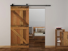 High Quality Double Z Two Panel V-Groove Solid Pine Interior Stained Wood Sliding Slab Barn Doors