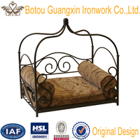 Hot selling pet products wrought iron pet bed, metal canopy dog bed, cat bed elegent
