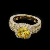 Charming Women's Latest Special Beautiful Designs Yellow Gemstone Fashion Gold Wedding Ring