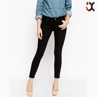clear black 100% cotton mid rise skinny ankle jeans women JXH161