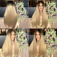 Hot style long blonde silky straight brazilian virgin hair lace front wigs fro african american