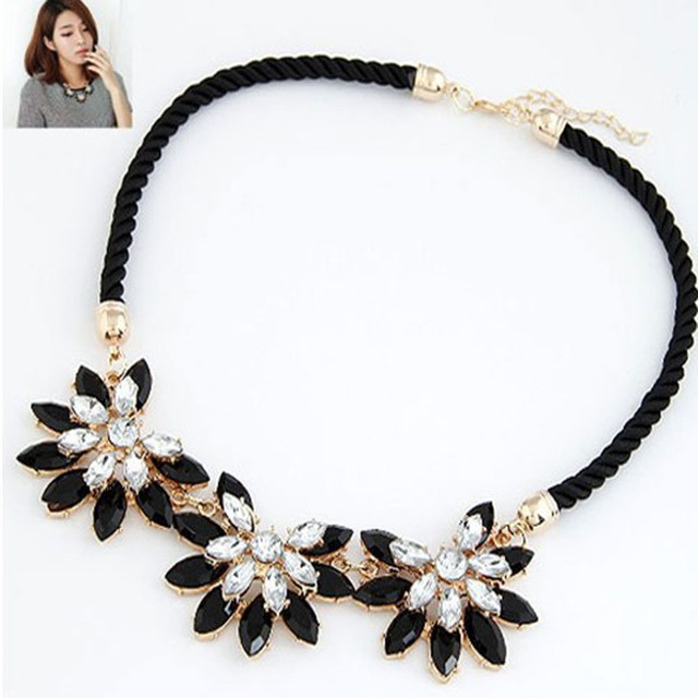 2016  Hot sale Brand Design western style multi-layer Weave Rhinestone Flower water drop necklace jewelry statement New