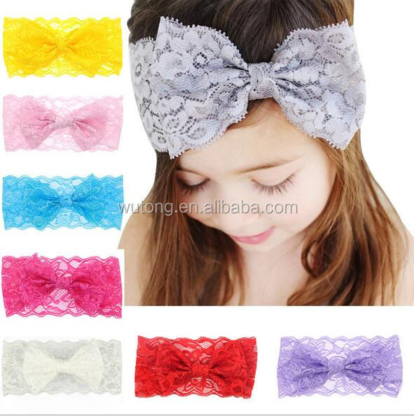 Baby Hair Accessories Toddler Cute Girl Kids Bow Hairband Turban Headband Headwear Lace Hairband white pink purple red gray aqua
