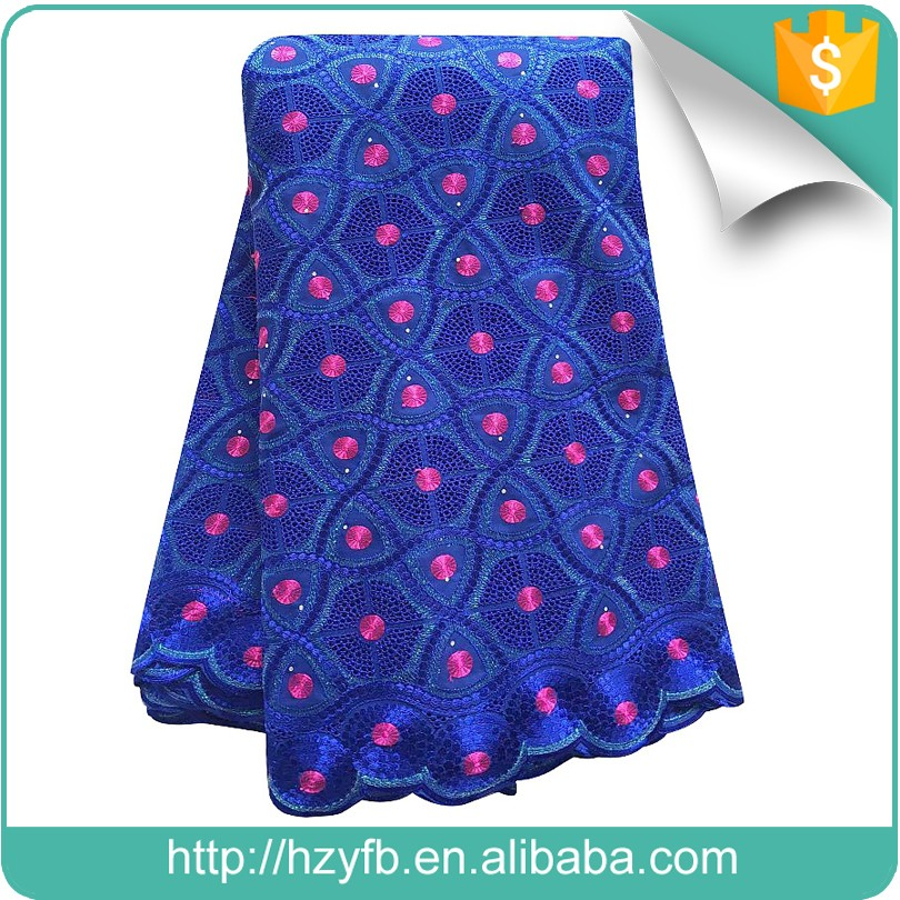 Nigerian aso ebi style swiss cotton voile lace for men royal blue dry lace material