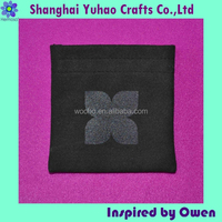 Jewelry/cosmetic/timepieces packaging pouch with logo and drawstring Black suede OEM/ODM