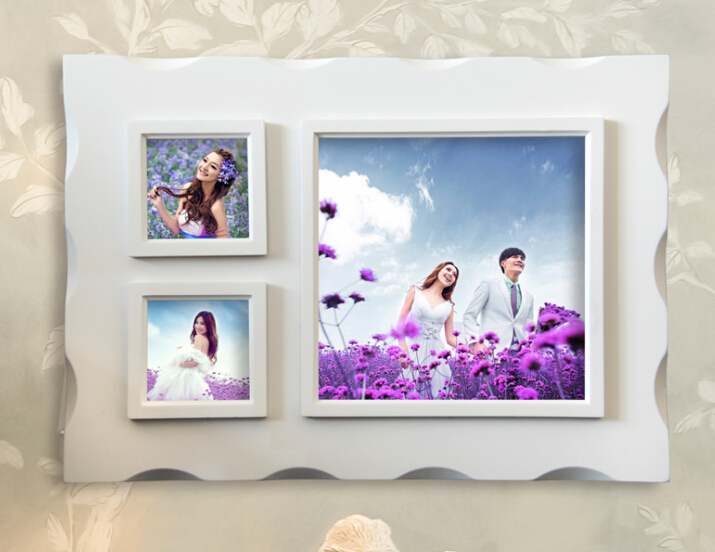 large 55x395cm white color 3 wall hang collage wood photo frame for wedding gifts