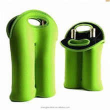 Insulated Neoprene 2 Bottle Wine Tote Carrier Drink Holder 1.5l bottle wine cooler bag