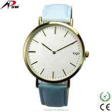2016 new design genuine leather strap wrist watch gift box package stainless steel watches men