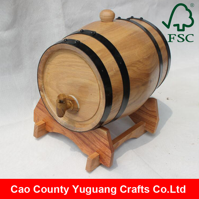 Custom made gift cheap 1.5l 3l 5l cask wooden barrels for wine whiskey with black hoops