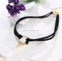 2017 fancy design leather triangular geometry pendant choker necklace