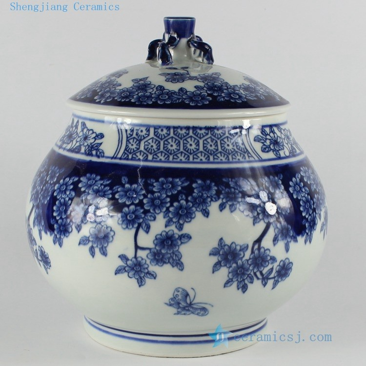 RZB02 H8.2 inch jingdezhen blue and white floral porcelain Tea Jar