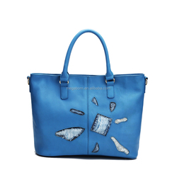 Fashion Designer PU Leather Women Tote Bag Handbag with Irregular Torn Engraving Design,Wholesale From China Bags Manufacturer