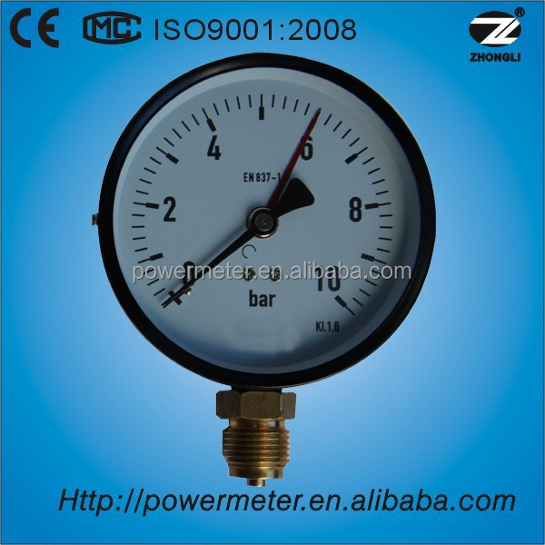 "(Y-100) 4""100mm black steel case brass bottom connection bourdon tube pressure manometer"