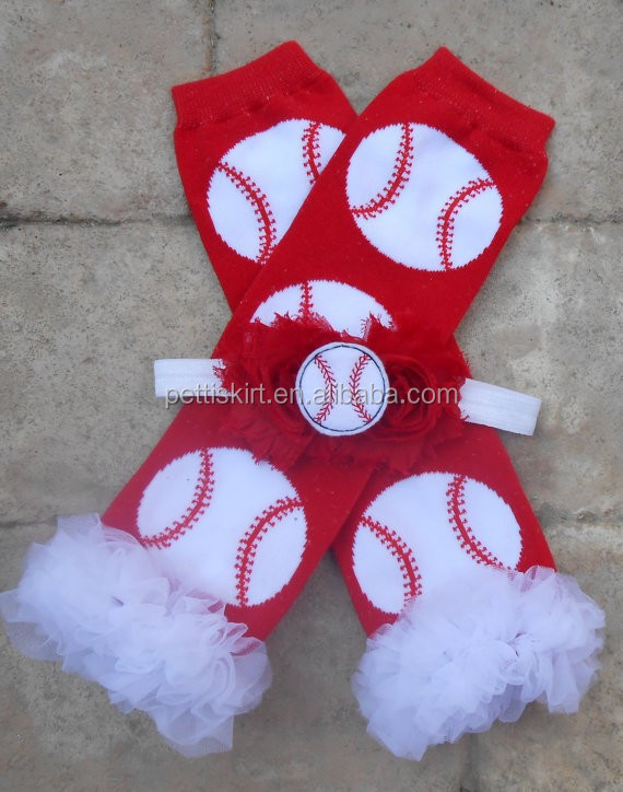 wholesale red legging football pattern 100% cotton baby leg warmers