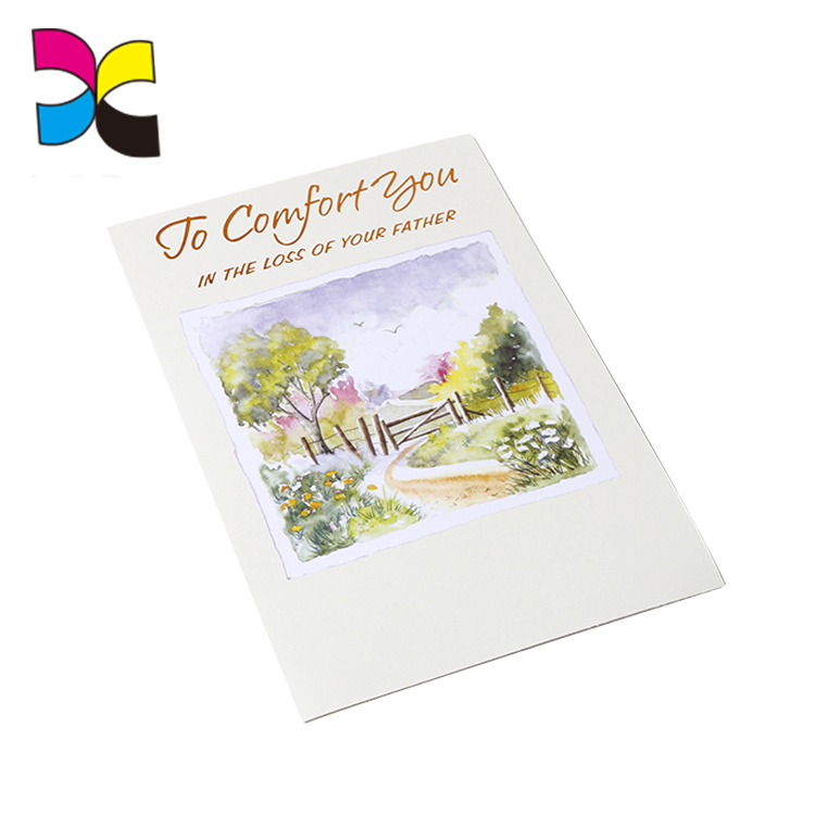 Printing White woodfree made Folded paper cut greeting card