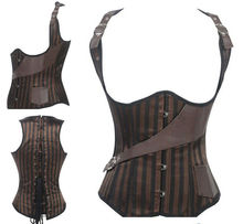 Walson Brown Underbust Sexy Leather Corset With Halter Straps