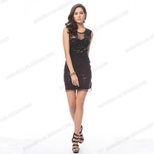 Cocktail-length strap tulle material sequins rhinestone beaded black ladies night dress sex