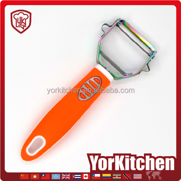 Novel design TPR handle Very popular chromeplate veggie veg peeler